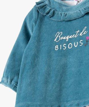 Pyjama bébé fille en velours effet 2 en 1 vue2 - GEMO(BB COUCHE) - GEMO