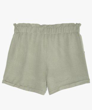 Short fille ample avec ceinture froncée et revers cousus vue3 - GEMO (JUNIOR) - GEMO