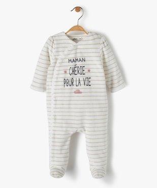 Pyjama bébé en velours à rayures brillantes vue1 - Nikesneakers(BB COUCHE) - Nikesneakers