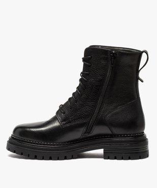Boots femme unis style rock à lacets et semelle crantée vue3 - GEMO (CASUAL) - GEMO