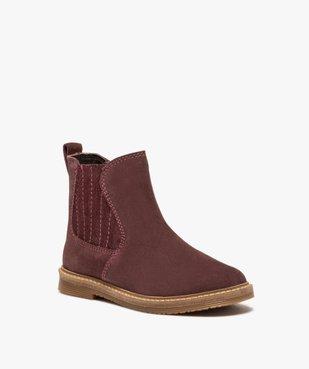 Boots fille zippées dessus cuir retourné style chelsea vue2 - Nikesneakers (ENFANT) - Nikesneakers