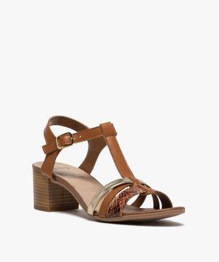 Sandales femme à talon carré et brides en cuir vue2 - GEMO(URBAIN) - GEMO