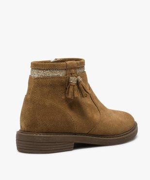 Boots fille zippés dessus cuir pompons et bordure pailletés vue4 - Nikesneakers (ENFANT) - Nikesneakers