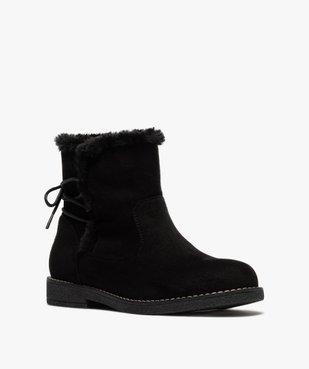 Boots fourrées femme à talon plat et suédine unie vue2 - GEMO (CASUAL) - GEMO