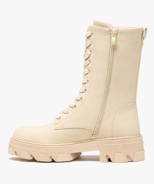 Boots femme unies à lacets semelle extra large et crantée vue3 - GEMO (CASUAL) - GEMO