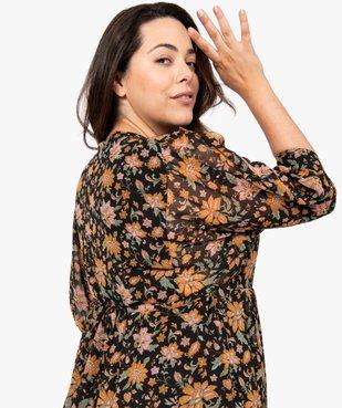 Robe femme longue à motifs fleuris et manches amples  vue2 - GEMO (G TAILLE) - GEMO
