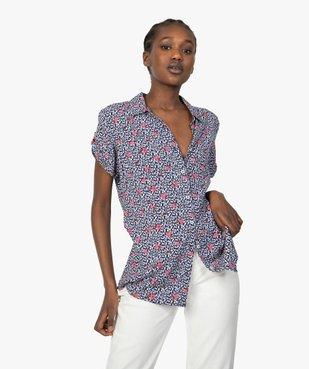 Chemise femme à manches courtes imprimée vue1 - GEMO(FEMME PAP) - GEMO
