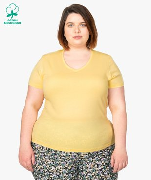 Tee-shirt femme à manches courtes et col V vue1 - GEMO (G TAILLE) - GEMO