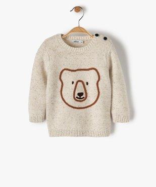 Pull bébé garçon an maille chinée avec tête d'ours brodée vue1 - GEMO(BEBE DEBT) - GEMO