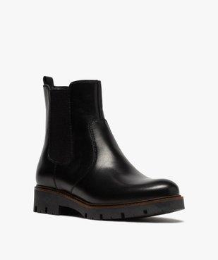 Boots fille style chelsea dessus cuir à semelle crantée vue2 - GEMO (ENFANT) - GEMO