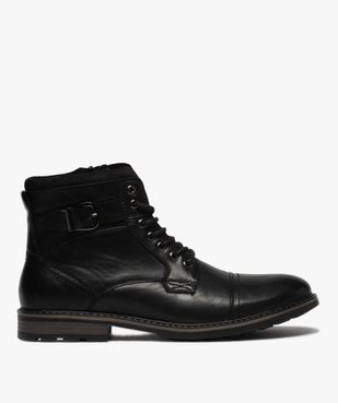Boots homme unis doublure chaude fermeture lacets et zip vue1 - GEMO (CASUAL) - GEMO