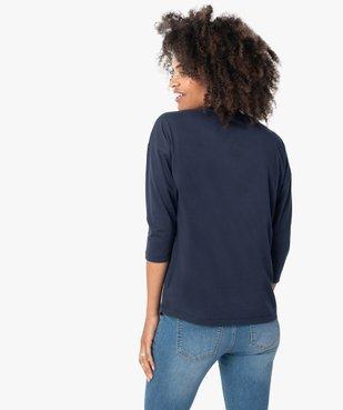 Tee-shirt femme à manches ¾ avec message vue3 - GEMO(FEMME PAP) - GEMO