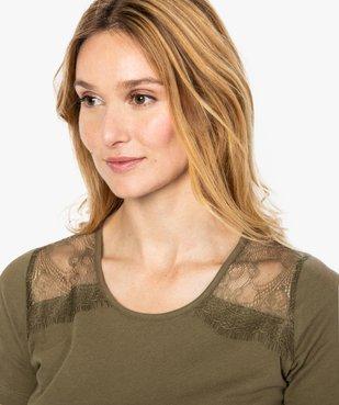 Tee-shirt femme à manches courtes avec épaules en dentelle vue2 - GEMO (MAILLE) - GEMO