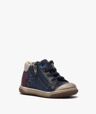Chaussures premiers pas bébé garçon à lacets et zip - Bopy vue2 - BOPY - GEMO