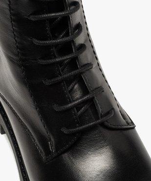 Boots fille en cuir uni style godillots à semelle crantée vue6 - GEMO (ENFANT) - GEMO
