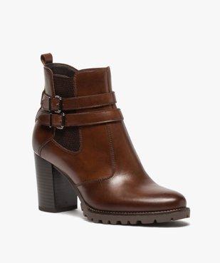 Boots femme à talon rainuré dessus en cuir uni vue2 - GEMO(URBAIN) - GEMO
