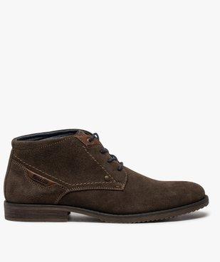 Boots homme unis à lacets dessus en cuir velours vue1 - GEMO(URBAIN) - GEMO