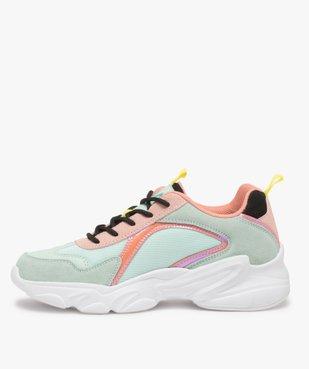 Baskets femme à semelle épaisse look dad shoes - FILA à reflets irisés vue3 - FILA - GEMO