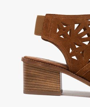 Sandales femme à talon carré et tige couvrante ajourée vue6 - GEMO(URBAIN) - GEMO