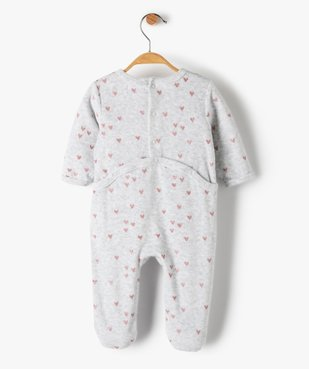 Pyjama bébé fille en velours avec motifs cœurs  vue4 - GEMO(BB COUCHE) - GEMO