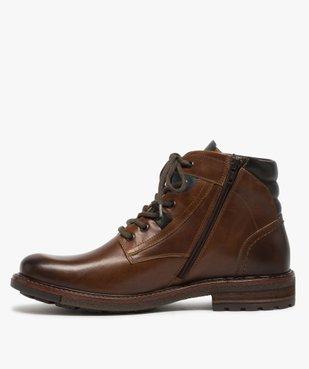 Boots homme zippés à lacets dessus cuir et col rembourré vue3 - GEMO (CASUAL) - GEMO