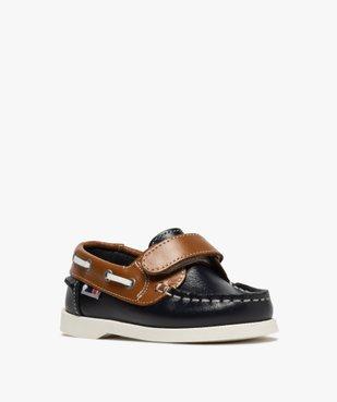 Chaussures bateau garçon dessus cuir à fermeture scratch Dessus cuir lisse bicolore vue2 - GEMO (ENFANT) - GEMO