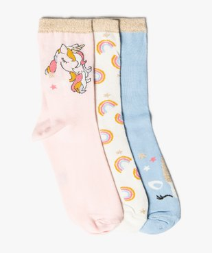Chaussettes fille à tige haute et licorne pailletée (lot de 3) vue1 - GEMO (ENFANT) - GEMO