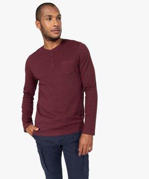 Tee-shirt homme à manches longues et col tunisien vue2 - GEMO (HOMME) - GEMO