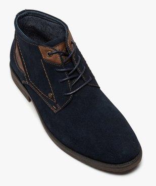 Boots homme unis à lacets dessus en cuir velours vue5 - GEMO(URBAIN) - GEMO