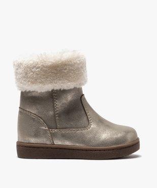 Boots fourrées bébé fille zippées dessus métallisé vue1 - GEMO(BEBE DEBT) - GEMO