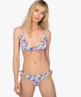 Bas de maillot de bain femme fleuri noué sur les côtés vue3 - GEMO (PLAGE) - GEMO
