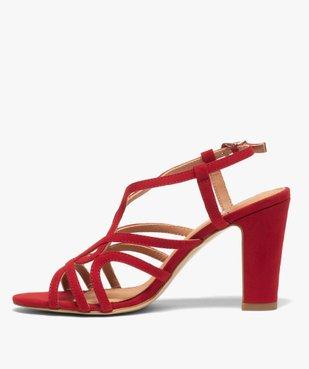 Sandales femme unies à talon et fines brides entrelacées vue3 - GEMO(URBAIN) - GEMO