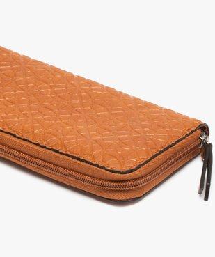 Portefeuille femme en matière texturée à motifs rosaces vue2 - GEMO (ACCESS) - GEMO