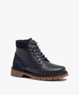 Boots garçon avec dessus cuir uni et semelle crantée vue2 - GEMO - GEMO