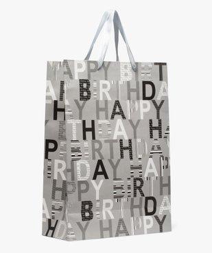 Sac cadeau d'anniversaire imprimé Happy Birthday en papier recyclé vue1 - GEMO C4G HOMME - GEMO