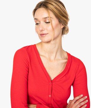 Tee-shirt femme en maille côtelée boutonné sur l'avant vue2 - FOLLOW ME - GEMO