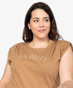 Tee-shirt femme à épaulettes avec message pailleté vue2 - Nikesneakers (G TAILLE) - Nikesneakers