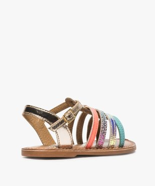 Sandales filles avec brides en cuir multicolores vue4 - GEMO (ENFANT) - GEMO