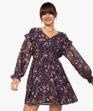Robe femme courte en voile à motifs fleuris vue1 - GEMO(FEMME PAP) - GEMO
