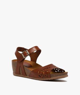 Sandales femme à talon compensé et bride en cuir ajouré vue2 - GEMO(URBAIN) - GEMO