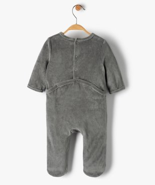 Pyjama bébé en velours avec message vue3 - GEMO(BB COUCHE) - GEMO