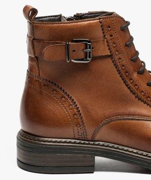 Boots fille zippées dessus cuir uni avec bordures perforées vue6 - GEMO (ENFANT) - GEMO