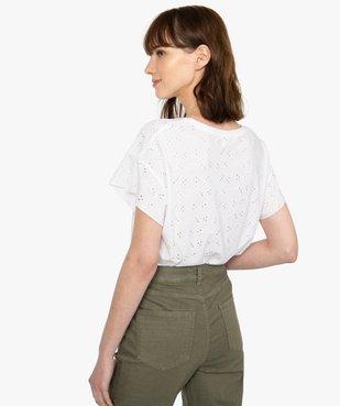 Tee-shirt femme à manches courtes façon dentelle anglaise vue3 - GEMO(FEMME PAP) - GEMO