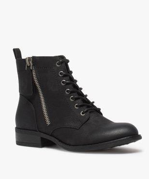 Boots femme style rangers à zip vue2 - GEMO (CASUAL) - GEMO
