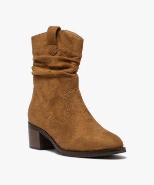 Boots femme à talon carré dessus en suédine unie vue2 - GEMO(URBAIN) - GEMO