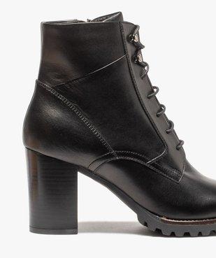 Boots femme à talon carré et dessus cuir façon godillots vue6 - GEMO(URBAIN) - GEMO