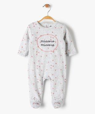 Pyjama bébé fille en velours avec motifs cœurs  vue1 - GEMO(BB COUCHE) - GEMO