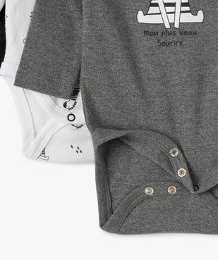 Body bébé manches longues avec motif zèbre (lot de 3) vue3 - GEMO C4G BEBE - GEMO