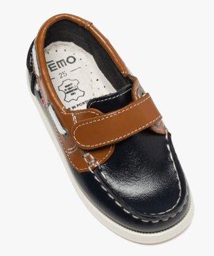 Chaussures bateau garçon dessus cuir à fermeture scratch Dessus cuir lisse bicolore vue5 - GEMO (ENFANT) - GEMO