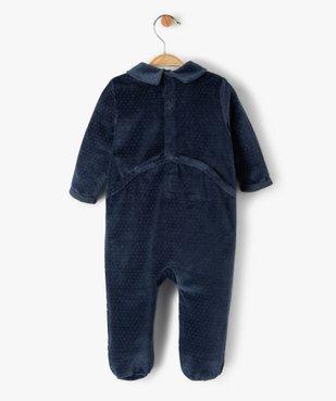 Pyjama bébé garçon en velours avec message vue3 - GEMO(BB COUCHE) - GEMO